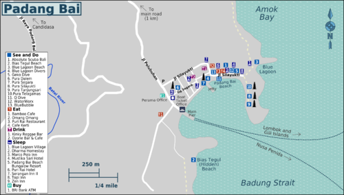 Detail Padang Bai Bali Location Map for Tourists,Location Map of Padang Bai Bali,Pura Tanjungsari Pura Silayukti Pura Telagamas Pura Segara Pura Dalem Little beach/pantai kecil/Bias Tugal Beach Blue Lagoon Beach Map,Padang Bai Accommodation Destinations Attractions Hotels maps