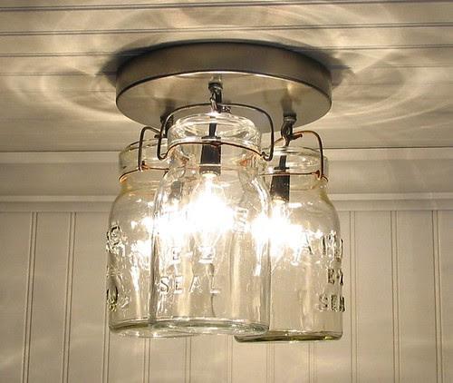 Vintage Canning Jar Ceiling Light