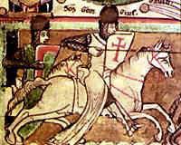 Dos caballeros templarios durante una cruzada