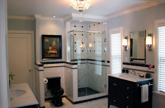 Black and White Contemporary - Traditional - Bathroom ...