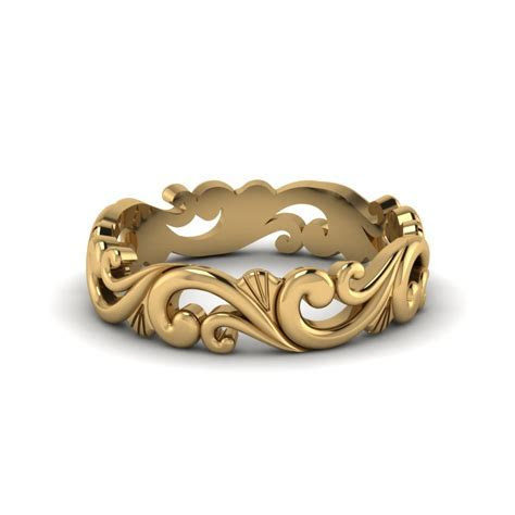 Filigree Simple Gold Wedding Band For Women In 14K Yellow