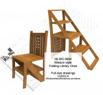 Mission style Folding Step Chair Woodworking Plan - fee plans from WoodworkersWorkshop® Online Store - Mission style,chiars,folding,ladder,library,step chiars,step stools,woodworking plans,woodworkers projects,workshop blueprints