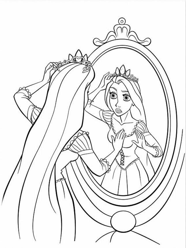Dibujo De Rapunzel Que Se Refleja Con La Corona Para Colorear