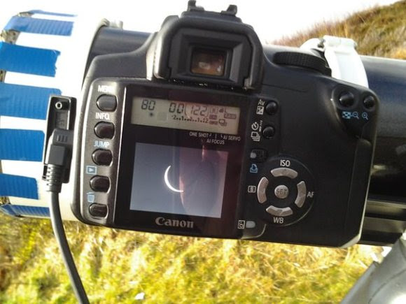 A back of the camera shot of the eclipse as seen from northern Scotland. Credit: Edwin Quail.