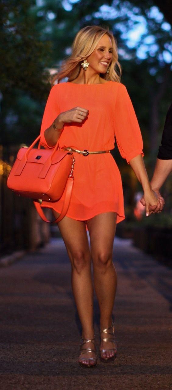 Bright orange pretty summer dress   Fashion City