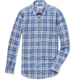 Loro Piana Alfred Plaid Linen Shirt