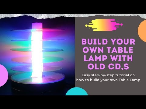 Table Lamp With Old CD - Night Lamp Ideas - DIY Home Decor Ideas