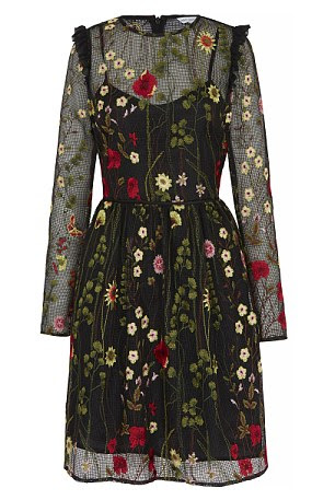 Embroidered dress, £95, from Next