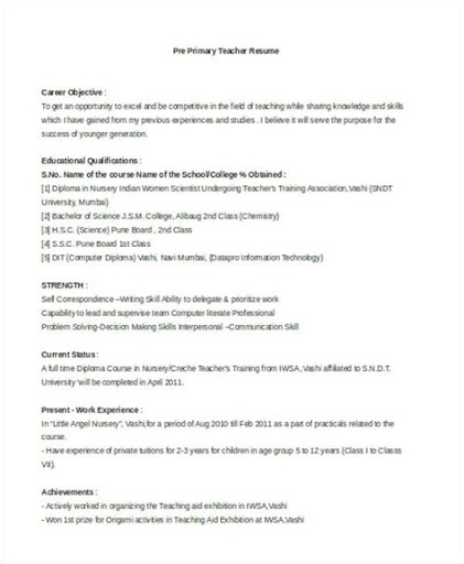 Sample Resume For English Teacher In India