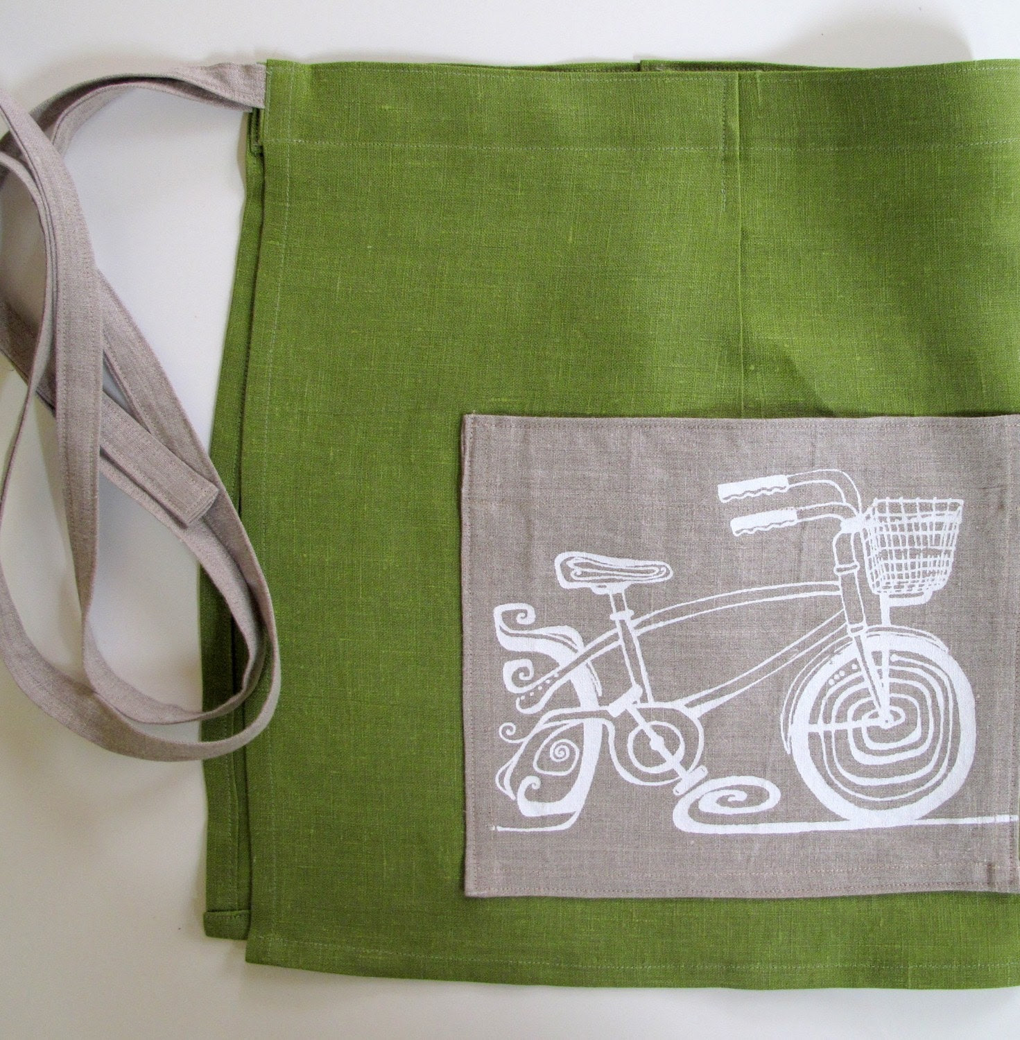 Apron - Grass Green Linen with Bicycle