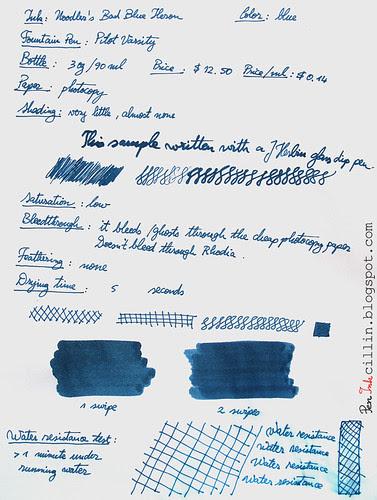 Noodler's Bad Blue Heron photocopy