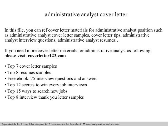 Administrativeyst Cover Letter