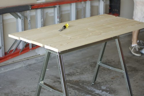Dear family sawhorse desk diy Sawhorse desk legs