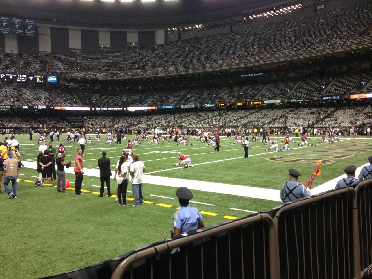Mercedes-Benz Superdome section 104 row 2 seat 20 - New Orleans Saints vs Atlanta Falcons