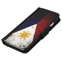 Black Grunge Philippines Flag iPhone 6 Wallet Case
