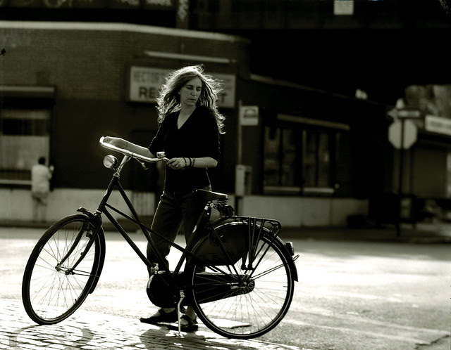 Patti and her bicycle. Meatpacking District, New York, NY. 1999.