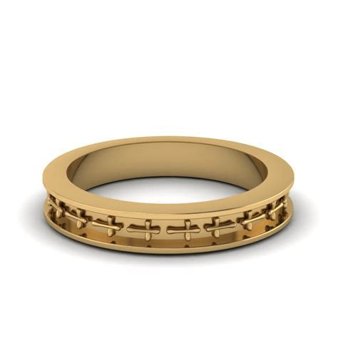 Cross Design Mens Band Ring In 14K Yellow Gold