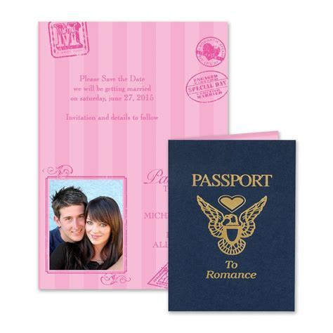 Passport to Romance Save the Date Card   Invitations By Dawn