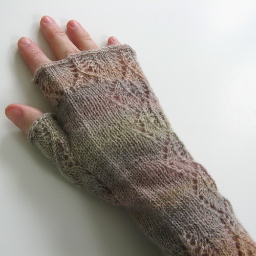 Orchid Lace Mitts modeled