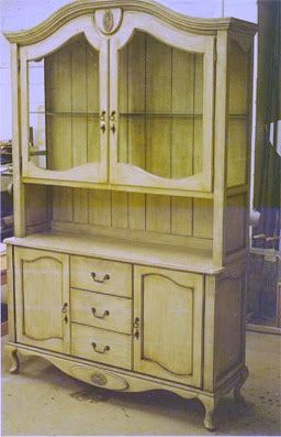 Custom made French country syle hutch with antique finish by RJ