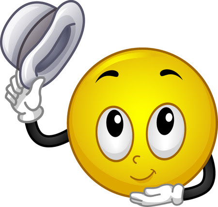 smiley: Mascot Illustration d'un Smiley Retrait son chapeau et Faire un léger salut