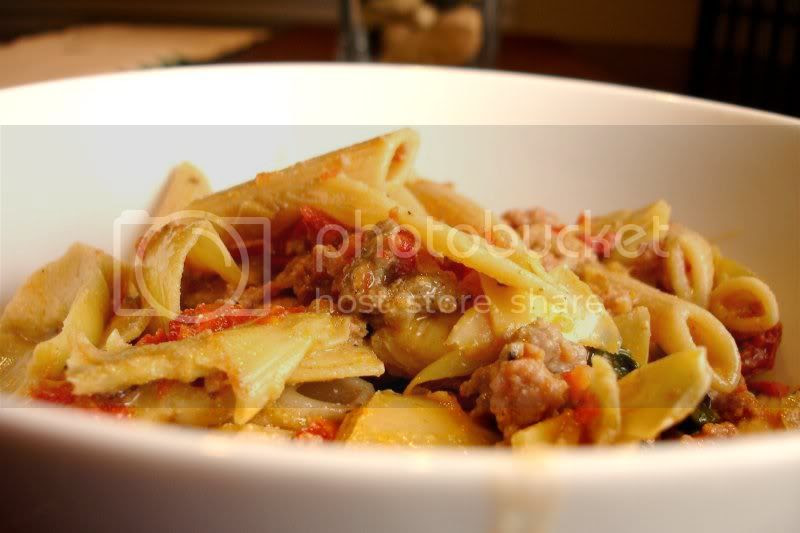 Bowl of Penne with Artichokes, Spinach & Sun Dried Tomatoes