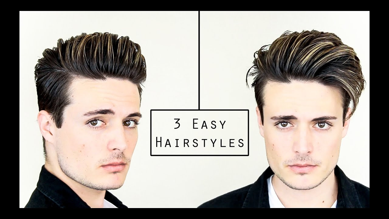 3 Easy Mens Hairstyles No Heat Hair Tutorial Healthy Hair 2016