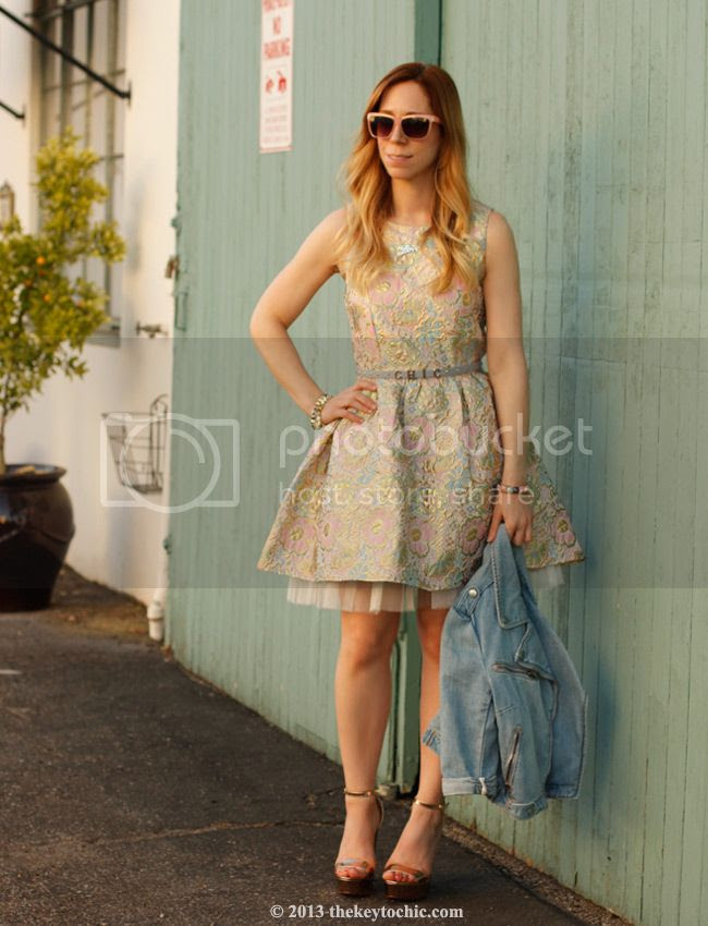 Boohoo Global Styler campaign, Boohoo Boutique Georgie brocade prom dress, denim moto jacket, rose gold ankle strap heels, Topshop chic belt, Los Angeles fashion blog