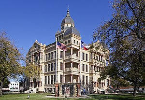 The Denton County, Texas courthouse located at...