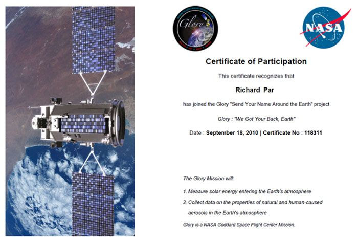 My participation certificate for the Glory mission.