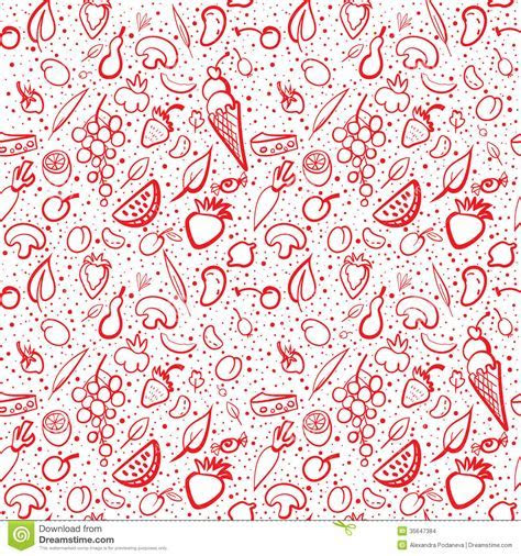 Seamless Food Pattern With Vegetables And Fruits Stock