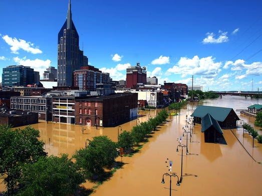 Water from the Cumberland River flooded the riverfront