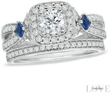 Vera Wang Love Collection 1 14 Ct Tw Diamond And Sapphire Frame