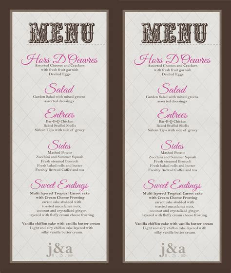 Wedding Menu/Buffet Menu   DIY   Print   Wedding and Party