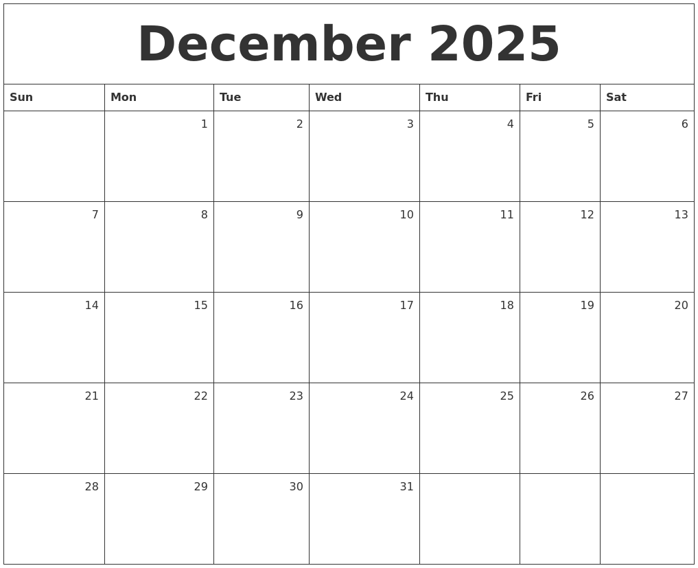 december 2025 monthly calendar