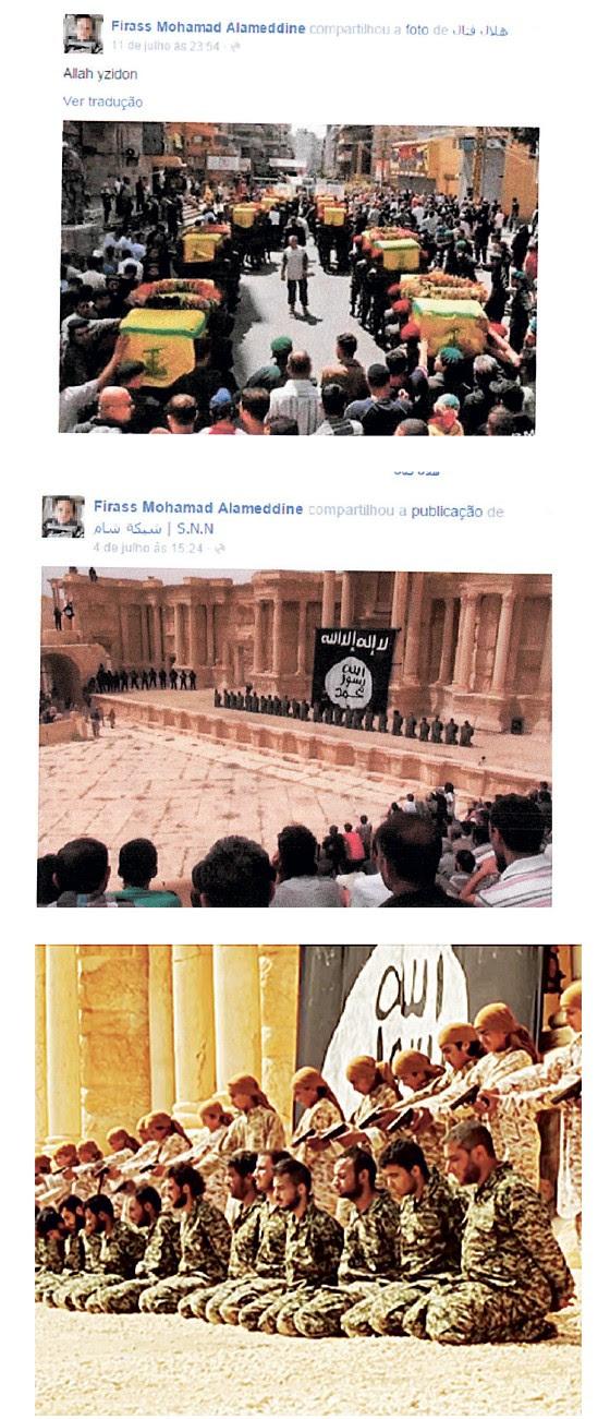 Perfil de Firas Allameddin mostram simpatia pelo terror (Foto: Reprodução)