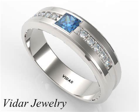 Princess Cut Blue Diamond Wedding band   Vidar Jewelry