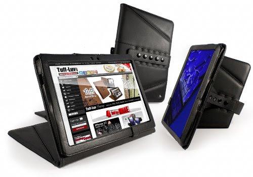 Tuff-Luv Tri-Axis Series: Genuine Leather case cover for Samsung Galaxy Tab 10.1 (P7510 & 7500 series) - Black