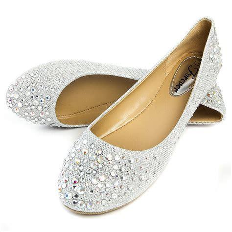 Silver Round Toe Rhinestone Crystal Bridal Wedding