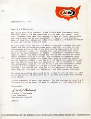 A&W Great Root Bear letter