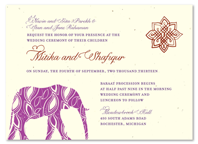 Painted Elephant cream seeded paper invites