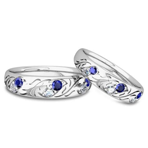 His and Hers Matching Wedding Band in Platinum: Diamond