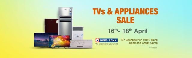 Amazon TV & appliance sale: Additional 10% Cashback ON HDFC debit/ credit  cards