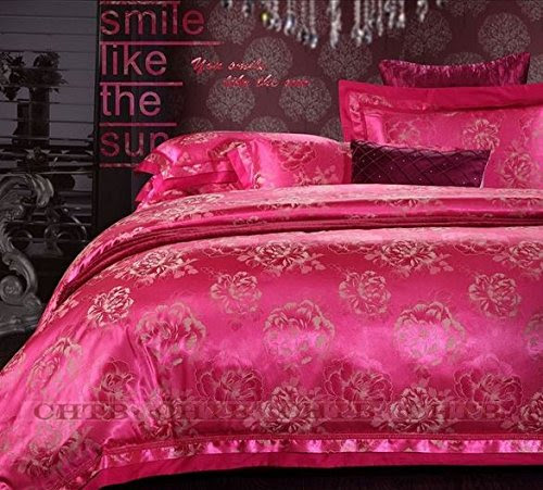 Home silk bedding set Queen King size 4pcs Noble Palace Luxury bed linen tribute silk satin jacquard duvet cover sheet bedclothes Queen Size No 019 HT 7 Free Shipping