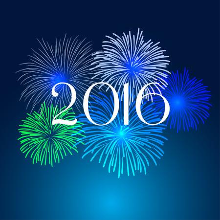 Frohes neues Jahr Feuerwerk 2016 Urlaub Hintergrund Design Lizenzfreie Bilder - 38680749