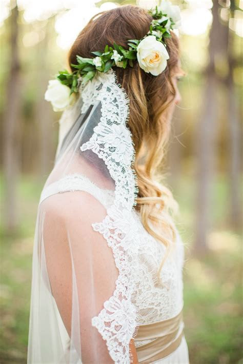 boho bride flower crown  lace veil bohemian