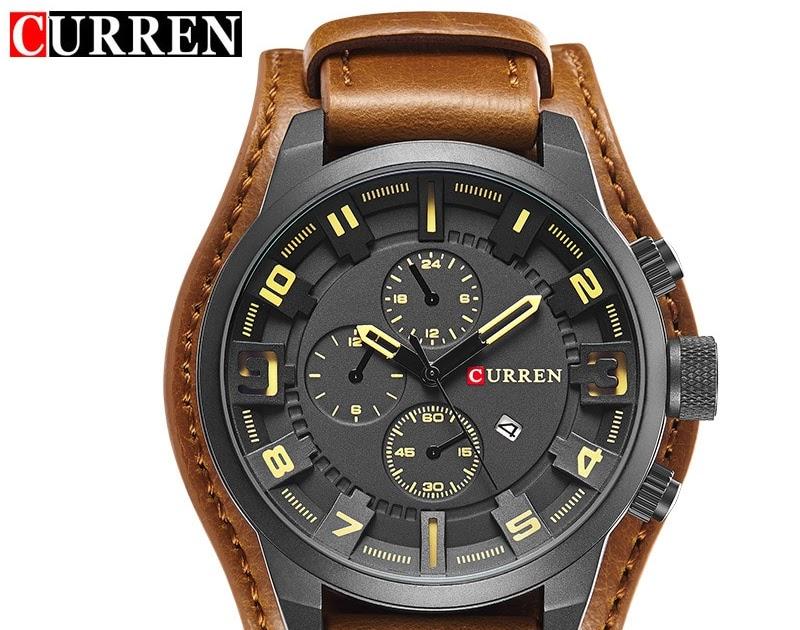 bcc388e40a1 Comprar CURREN Relógio Relogio Masculino Homens De Quartzo Militar Dos Relógios  Top Marca Luxo Data Couro Sports Pulso 8225 Baratas Online Preço