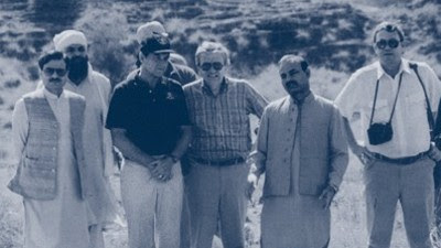 Then Maj. Gen. Hamid Gul, Director General of the ISI (far left), with William Webster, Director of Central Intelligence, Clair George, Deputy Director for Operations, and Milt Bearden, CIA station chief, at a training camp for the mujahedeen in Pakistan's North-West Frontier Province in 1987 (RAWA.org)