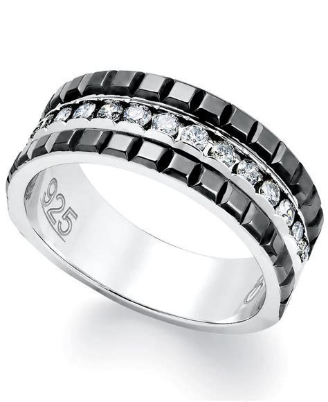 Mens Diamond Ring, Sterling Silver and 2 Row Black Enamel