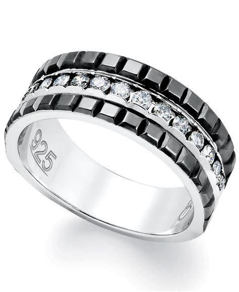 Mens Diamond Ring, Sterling Silver and 2 Row Black Enamel